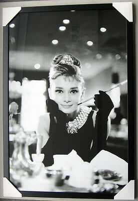 "AUDREY HEPBURN POSTER IN frame ""BREAKFAST AT TIFFANY'S"" Ready to Hang LICENSED"