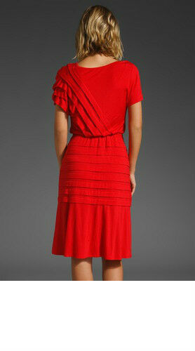 Nuevo Con Etiquetas  228 228 228 plenty By Tracy Reese Jersey Liberado plisado vestido rojo amapola Mediano 5ed466