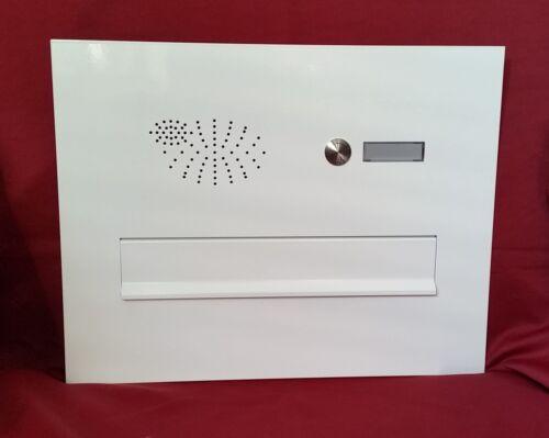 Frontplatte mit Briefeinwurf für Mauerdurchwurf weiß Klingel Namensschild BEH112