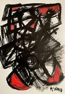 SEVARD Abstrakte Komposition Gemälde Zeichnung A4 Original Signiert Unikat N402