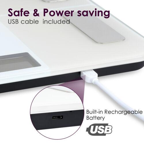 8in1 Personenwaage Körperanalysewaage 180KG Badezimmerwaage Bluetooth Waage USB