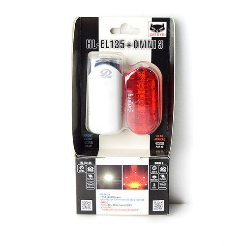 Rear Tail Light Set Cateye HL-EL135 White Omni3 Bike Bicycle Front Head