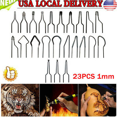LICHIFIT 23PCS 1mm Pyrography Wire Tips Nibs Set for 30-50W Adjustable Wood Burning Machine Pyrography Machine