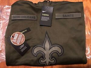 san francisco fb246 ee3c5 Details about NEW ORLEANS SAINTS Salute to Service Therma Fit Hoodie 2018  Nike Military STS
