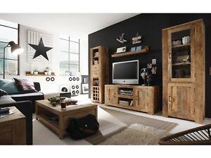 Details Zu Wohnwand Anbauwand Mango Natur Holz Mobel Schrankwand Wohnzimmer Chennai Neu