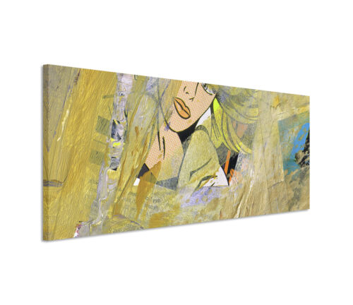 Leinwandbild Panorama grün blau grau Gesicht Paul Sinus Abstrakt/_537/_150x50cm
