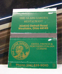 Details About Rare Vintage Matchbook Cover H2 Westlake Ohio Glass Garden Restaurant French Ita