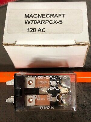 10A @ 240vac NOS In orig boxes Magnecraft W78ARPCX-5 DPDT 120V AC Coil