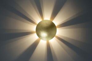 Applique lampada da parete rotonda w metallo vetro oro