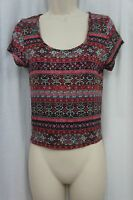 American Rag Top Sz M Fusion Coral Combo Print Cropped Casual Tee