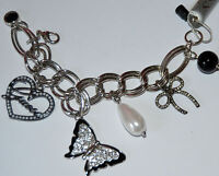 Guess Silver-black Metal-clear Stones-black Enamel Multi Charm Bracelet