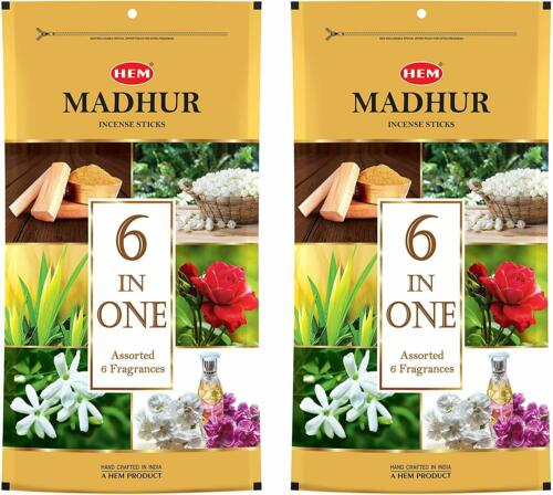 Family Pack Details about  /Hem Madhur 6 in One Assorted Incense Black Sticks Pack of 2