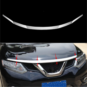 ABS Chrome Front Hood Grill Cover Bonnet Trim For Nissan X-Trail Rogue 2014-2019
