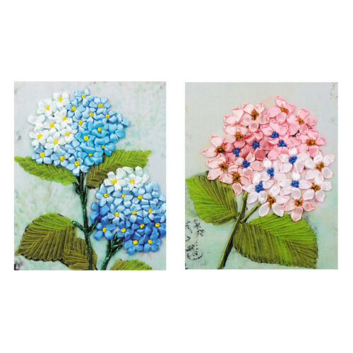 2Pcs DIY Ribbon Embroidery Kits Handmade Flower Pattern Home Decor Wall Art