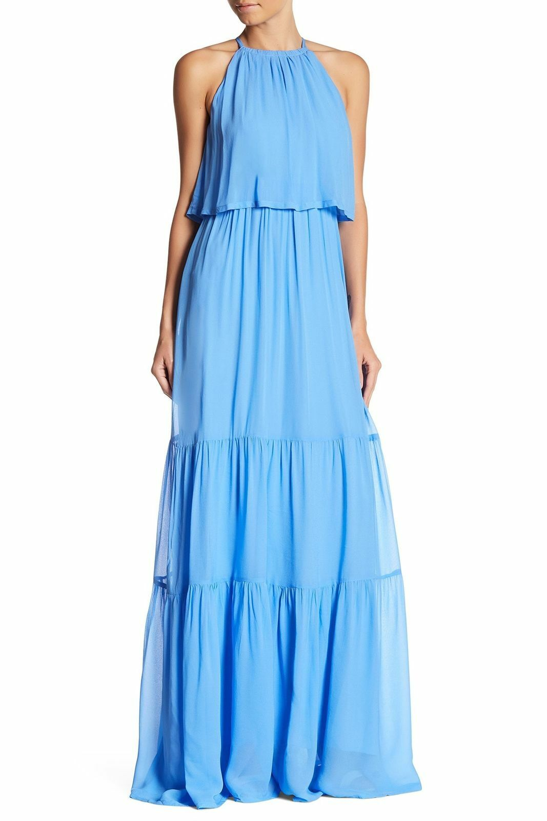 New French Connection Light Blau Crew Neck Tierot Halter Maxi Dress 2 New
