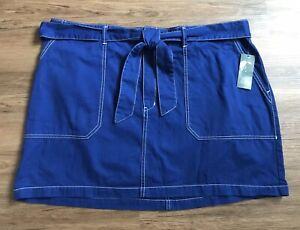 WILD-FABLE-Target-NWT-Sapphire-Blue-Mini-Skirt-Big-Pockets-Belt-Cotton-Size-24W