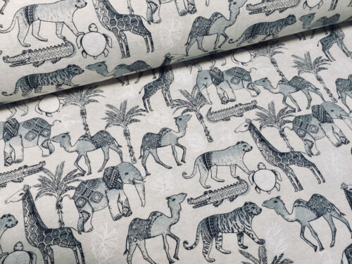 African Animal Print Fabric Linen Look Tropical Jungle Canvas Material 54/'/' wide