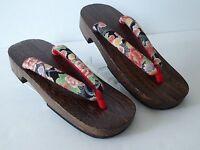 Japanese Wooden Geta Sandal Kimono Yukata Peony Pattern/ Us Size 8 - 9