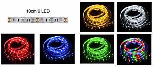 STRISCIA-6-LED-SMD-5050-3528-10cm-bianca-rossa-blu-gialla-verde-RGB-luce-12V