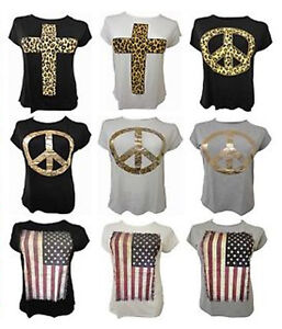 NEW-LADIES-PLUS-SIZE-GRAPHIC-PRINTED-TEE-SHIRTS-SUMMER-STRETCH-T-SHIRT-TOPS16-26