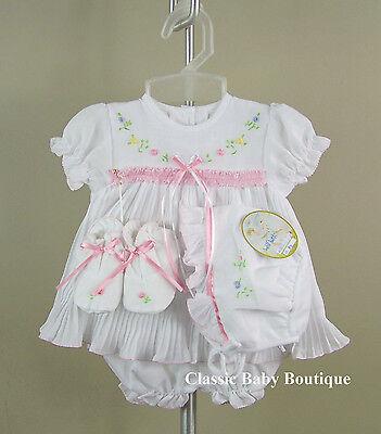 NWT Will/'beth White Pleated Ribbon Dress 4pc Newborn 3 6 months Girls w// bonnet