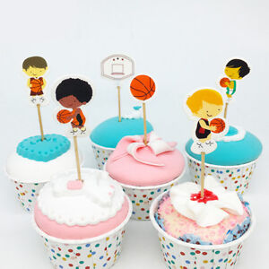 Details About 24 Pieces Basketball Boy Cupcake Picks Cake Toppers Party Favors Decoration