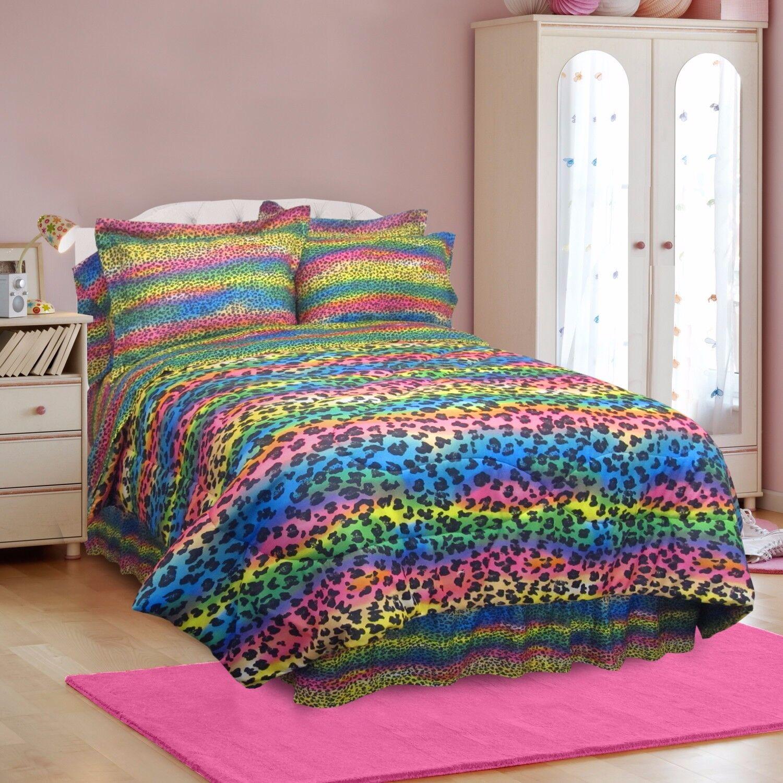 Rainbow Animal Imprimé Léopard Teen Girl Literie Complète Couette Set Fille Rose Bleu