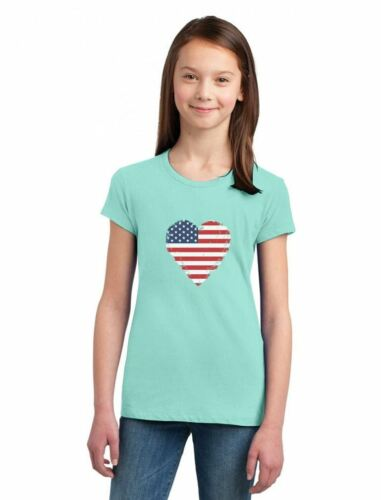 Love USA  4th of July American Heart Flag Girls/' Fitted Kids T-Shirt Gift