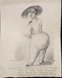 """""""la Femme Au Chapeau"""" Dessin Original Anonyme 1836 Bon GoûT"""