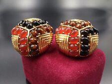 CINER HUGE SIGNED Vintage Earrings CABOCHONS CRYSTAL ART GLASS CARNELIAN 1980's!