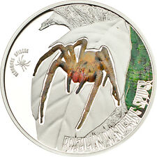 Brazilian Wandering Spider ~ Venomous Spiders - 5$ Cook Island Silver Coin 2011