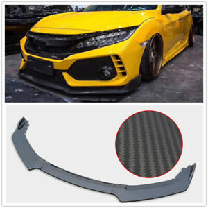 Front-Bumper-Lip-Splitter-Body-Kit-For-2016-2017-2018-Honda-Civic-4Dr
