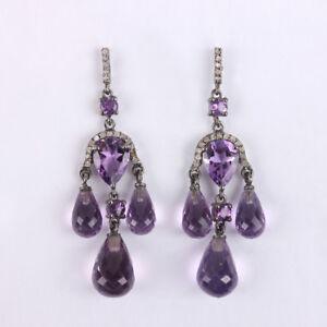 Genuine-Amethyst-Dangle-Earrings-Pave-Diamond-925-Sterling-Silver-Fine-Jewelry