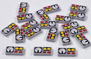 LEGO-20-x-Fliese-1x2-hellgrau-bedruckt-mit-Instrumenten-3069bpx19-NEUWARE