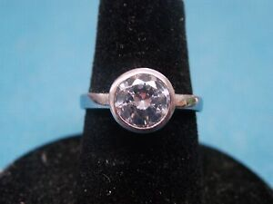 Stunning CZ Engagement Fashion Solitaire 925 Sterling Silver Ring Sz 5 1/4 5.25