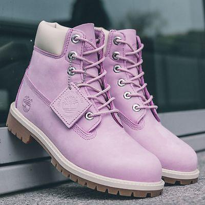 Timberland Juniors 6-Inch Premium Waterproof Boots Pink /  White Style A13WA NIB