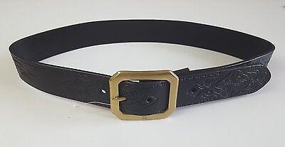 RALPH LAUREN VINTAGE BLACK LEATHER BELT W SINGLE PRONG RL ETCHED BRASS BUCKLE   eBay