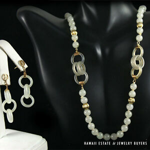 Details About 19c Chinese Mutton Fat White Jade Bead Devil S Work Hoops Necklace Earrings