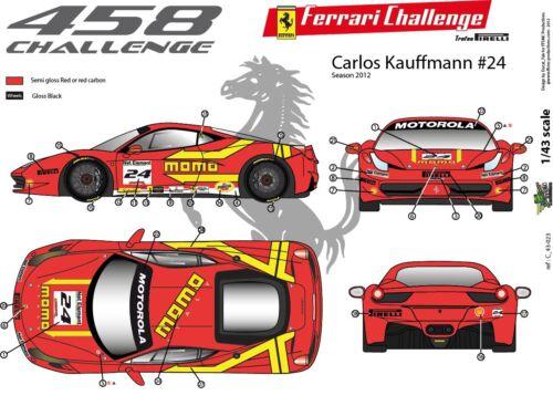 "FFSMC Productions Decals 1//43 Ferrari F-458 Challenge 2012 /""Momo/"""