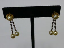 High Karat Gold & Pearl Dangle Earrings - Multi Use Dangle Or Stud - Screw Backs