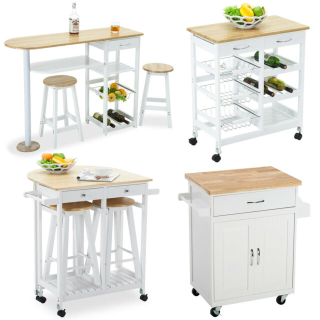 4 Styles Portable Wood Kitchen Island Cart Trolley Dining Table Storage  Cabinet
