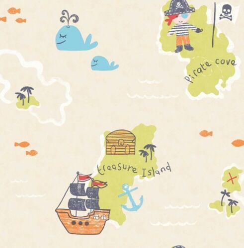 Smita Tapete Carousel DL21140 Piraten Pirat Insel Wal Schatzinsel Kindertapete