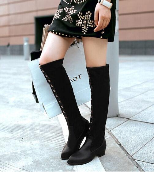Botines botas muslo mujer talón 3.5 cm elegantes cómodo negro tachuelas 9085