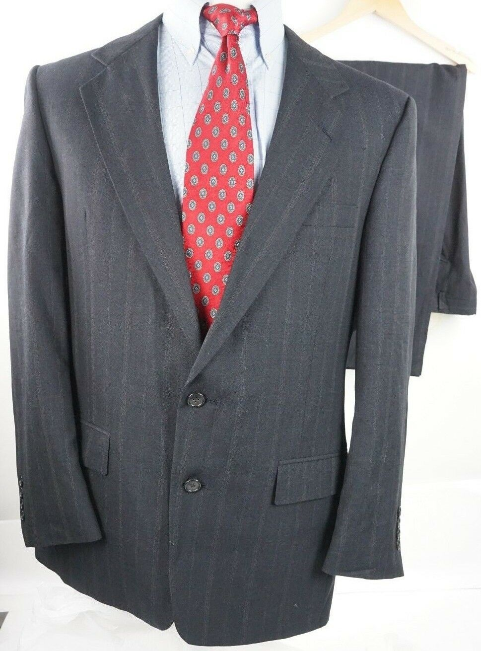 Christian Dior Monsieur  Herren Charcoal Striped Suit US 42, Pants W 37 L 31