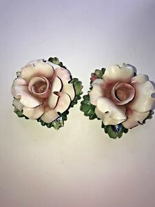 Pair-Pink-Capidmonte-Italy-Candle-Sticks-Roses-Figurine-Pink-Flower