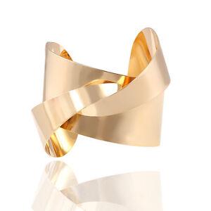 Image Is Loading Irregular Twist Bangle Bracelet Cuff Las Gold Silver