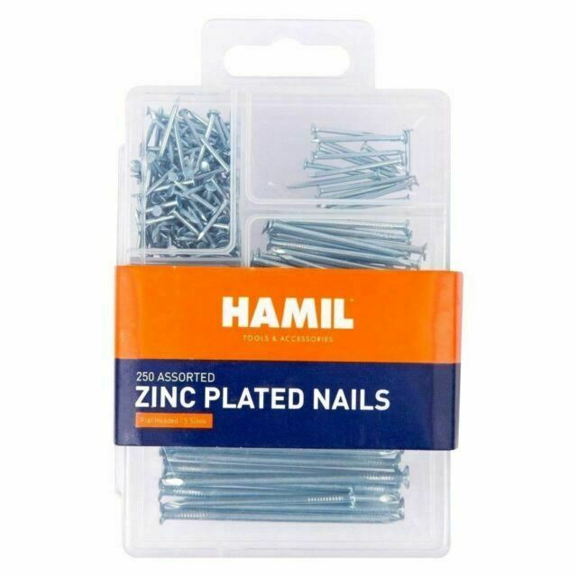 New Assorted Nails-250 Pcs in Box Flat headed D.I.Y Work 5 different sizes.