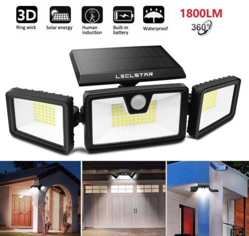 Details about  /1800LM Solar Spot Wall Lights Security Motion Sensor Garden Outdoor White Light