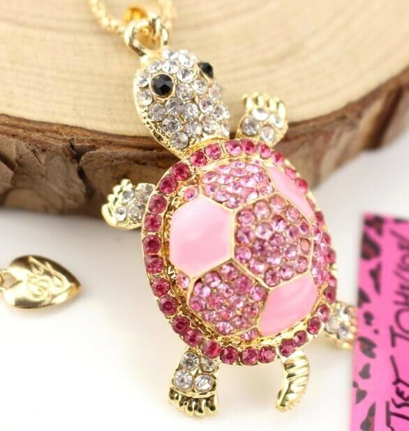 Pendant Fashion jewelry Pink turtle Enamel rhinestone Gold chain long necklace