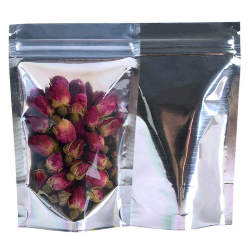 Resealable Food Bags Pack of 50 Mylar Smell Proof Bags Food Storage Bags